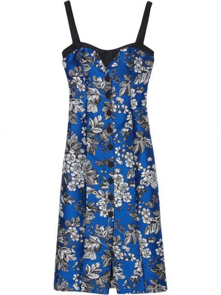 Синее платье миди без рукавов в цветочный принт Carolina Herrera