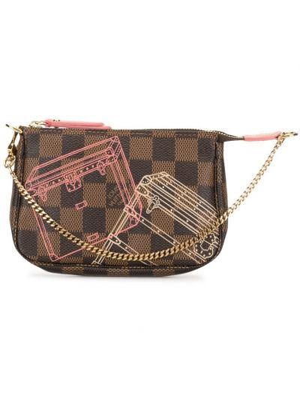 Золотистый коричневый с ремешком клатч на цепочке Louis Vuitton