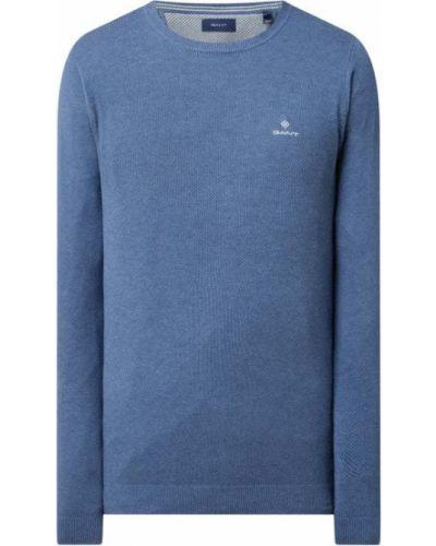 Prążkowany niebieski sweter bawełniany Gant