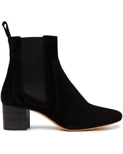 Czarne ankle boots zamszowe kaskadowe Iro