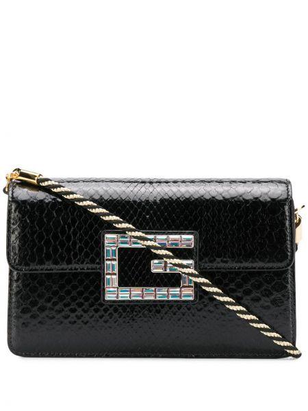 Skórzany czarny torba na ramię prążkowany z klamrą Gucci