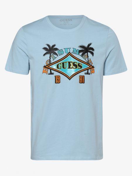 Niebieski t-shirt z printem Guess