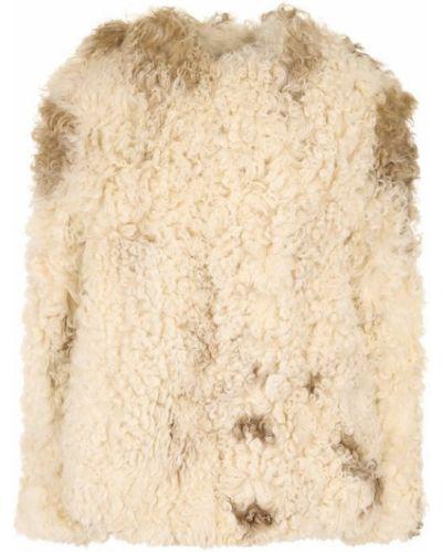 Короткая шуба из овчины белый Saint Laurent