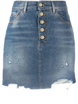 Синяя юбка мини на пуговицах с бахромой Pinko