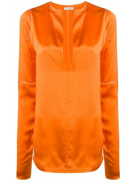 Оранжевая с рукавами прямая блузка с длинным рукавом с V-образным вырезом Nina Ricci
