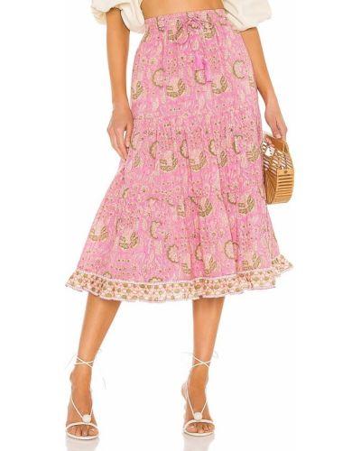 Różowa spódnica bawełniana z printem Cleobella