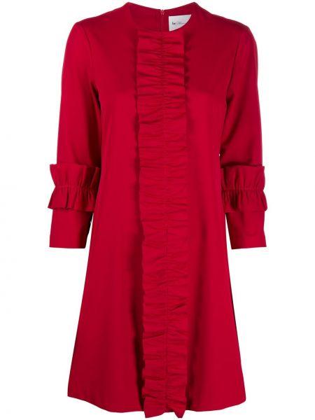 Красное платье круглое с круглым вырезом до середины колена Blumarine