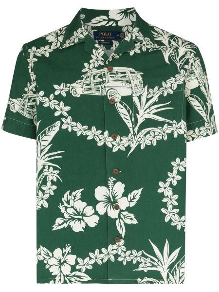 Koszula krótkie z krótkim rękawem zielona z nadrukiem Polo Ralph Lauren