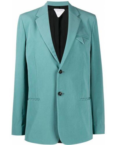 Однобортный синий классический пиджак на пуговицах Bottega Veneta
