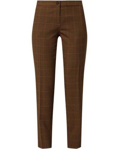 Brązowe spodnie materiałowe w pepitkę Rosner