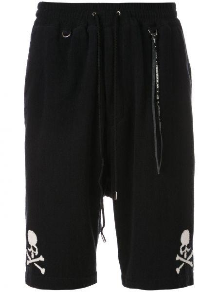 Czarne krótkie szorty bawełniane z printem Mastermind World