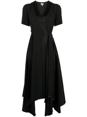 Кожаное с рукавами черное платье миди Loewe