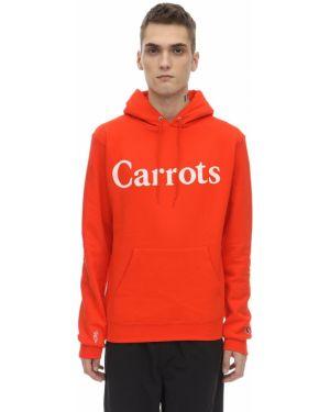 Pomarańczowa bluza z kapturem z haftem Carrots X Jungle