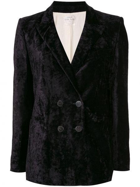 Бархатный черный удлиненный пиджак двубортный Forte Forte