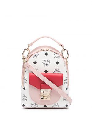 Różowy plecak skórzany z printem Mcm