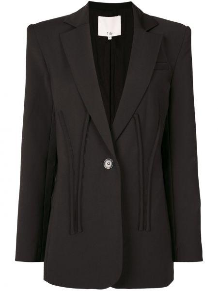 Bawełna wełniany czarny długa kurtka z klapami Tibi