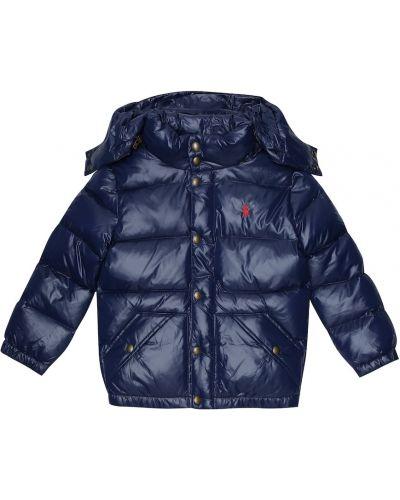 Niebieski puchaty pikowana płaszcz Polo Ralph Lauren Kids