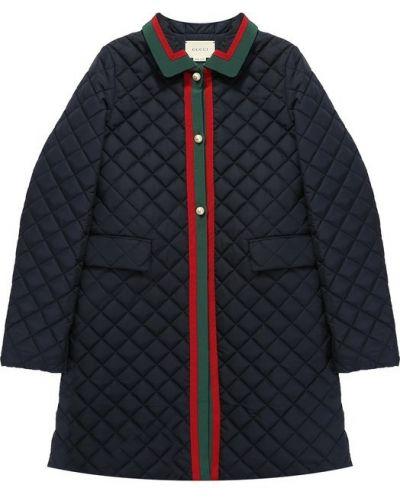 Стеганое пальто с отложным воротником Gucci