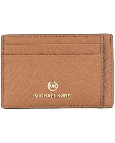 Кожаная визитница прозрачная золотая Michael Michael Kors