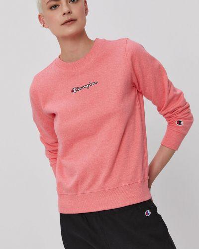 Różowa bluza długa z kapturem z długimi rękawami Champion