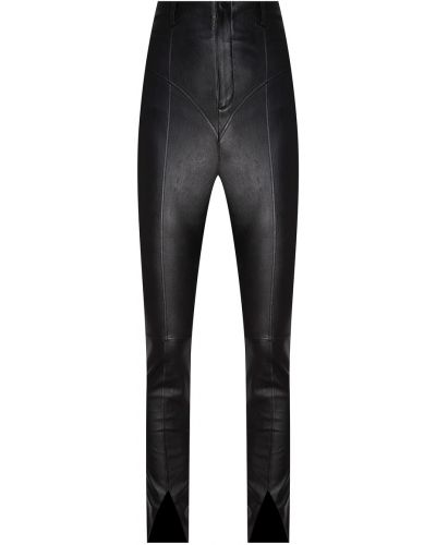 Кожаные черные брюки узкого кроя Izeta