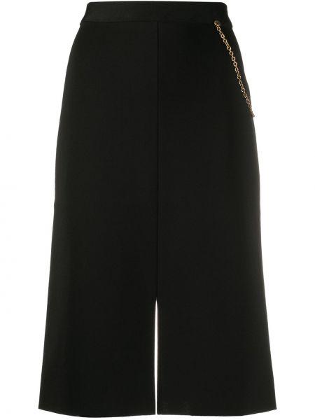 Złota czarna spódnica midi z wysokim stanem Givenchy