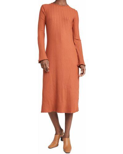 Sukienka długa z długimi rękawami - brązowa Simon Miller