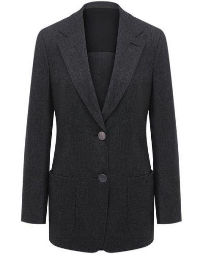 Серый фланелевый приталенный пиджак с подкладкой Giorgio Armani
