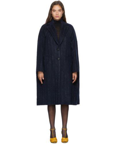 Синее длинное пальто с воротником из альпаки с лацканами Nina Ricci