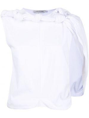 Хлопковая белая футболка с вырезом Christopher Esber