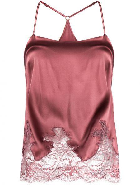 Сатиновый розовый ажурный топ на бретелях с вырезом Fleur Of England