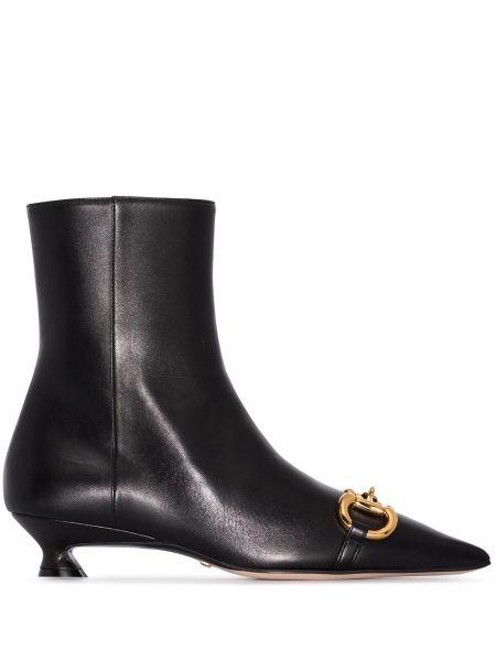 Czarny buty na pięcie z ostrym nosem na pięcie z prawdziwej skóry Gucci