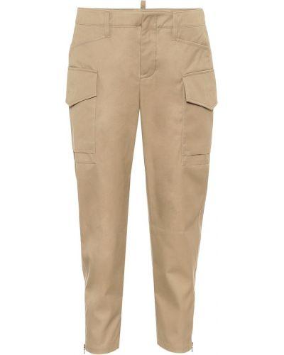 Ватные бежевые брюки карго из габардина Tod's