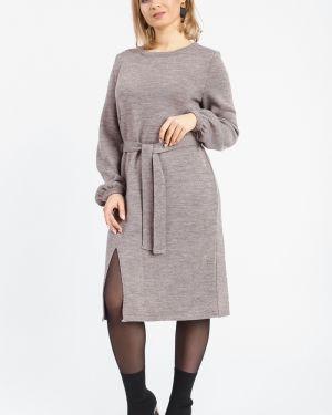 Платье с поясом вязаное со складками Lacywear