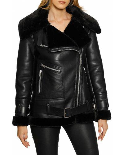 Кожаная куртка длинная - черная Walter Baker