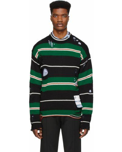 Czarny długi sweter w paski bawełniany Miharayasuhiro
