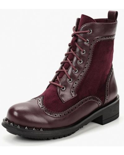 Кожаные ботинки осенние бордовые Teetspace