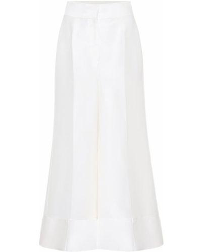 Jedwab światło biały spodni klasyczne spodnie Roksanda
