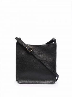 Кожаная сумка через плечо - черная Longchamp