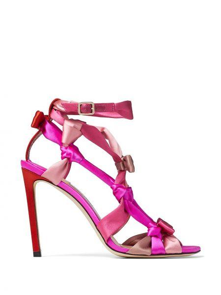 Różowy sandały plac z klamrą na pięcie Jimmy Choo