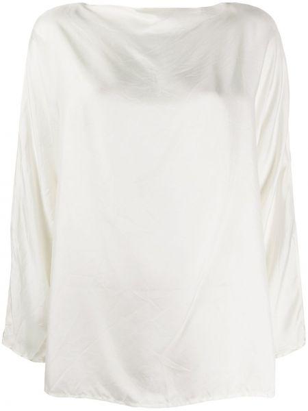 С рукавами белая шелковая блузка с длинным рукавом с вырезом Daniela Gregis