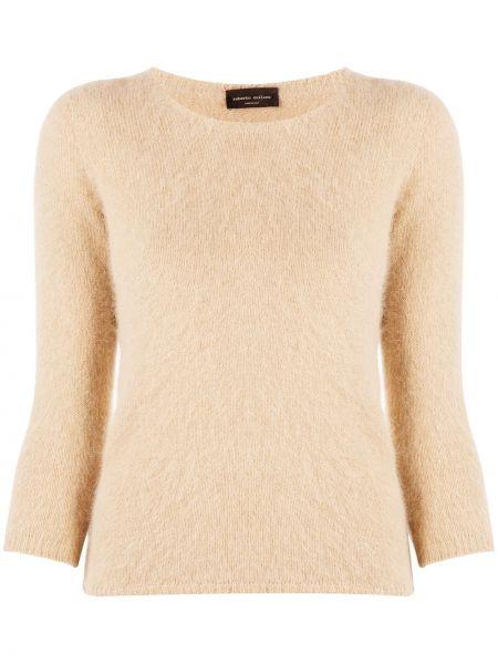 Тонкий длинный свитер из ангоры с вырезом Roberto Collina