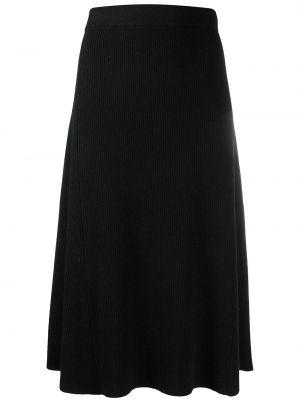 Трикотажная черная юбка миди в рубчик Yves Salomon