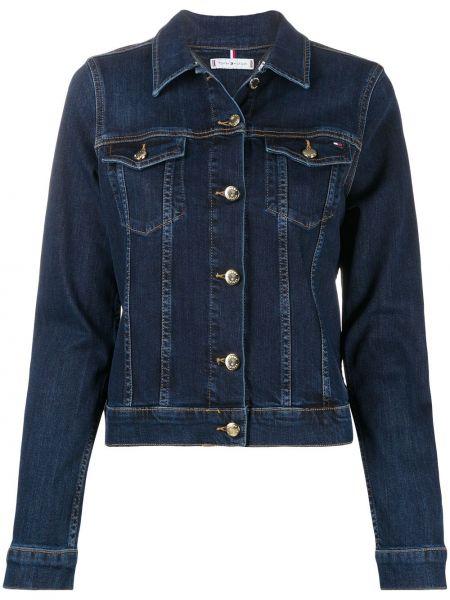 Приталенный синий классический пиджак с воротником Tommy Hilfiger