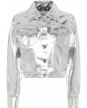 Джинсовая куртка серебряная итальянский Fendi