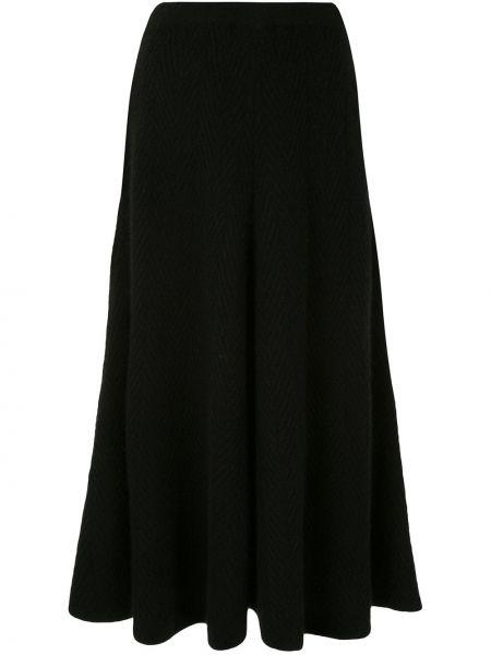 Черная кашемировая с завышенной талией юбка миди с декоративной отделкой Adam Lippes