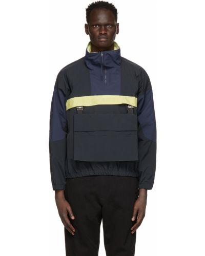 Czarna długa kurtka z nylonu z długimi rękawami Rochambeau