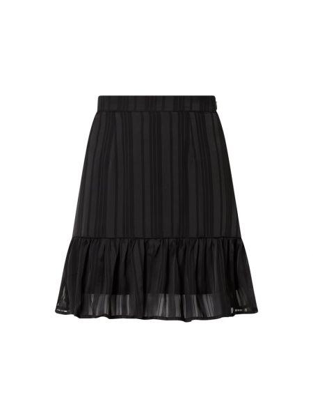 Czarna spódnica mini rozkloszowana z falbanami Guess