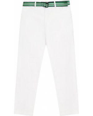 Хлопковые облегающие белые джинсы с поясом Polo Ralph Lauren