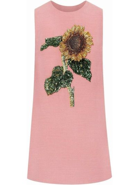 Платье мини с пайетками - розовое Oscar De La Renta